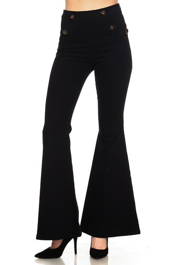 High Waist Flared Pants with Buttons - by TCEC - available at rkcollections.myshopify.com - LARGE / Black - Pants