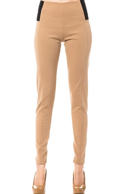 High Waist ponte skinny pant - by Love Tree - available at rkcollections.myshopify.com - Taupe / LARGE - Pants