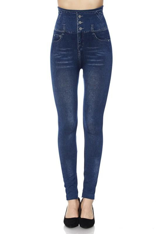 High-Waist Washed Denim Print Skinny Leggings - by 2NE1 - available at rkcollections.myshopify.com -  - Leggings
