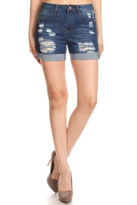 High Waisted Cuffed Distressed Shorts - by Denim Couture - available at rkcollections.myshopify.com -  - Shorts