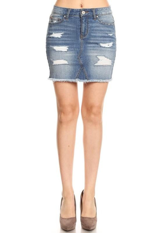 High waisted distressed denim skirt - by Enjean - available at rkcollections.myshopify.com -  - Skirts
