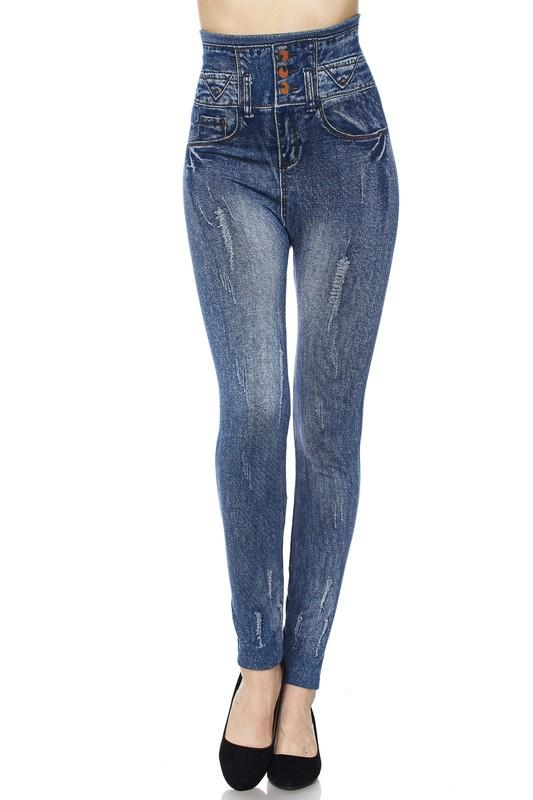 Highwaist Washed Destroyed Denim Print Leggings - by 2NE1 - available at rkcollections.myshopify.com -  - Leggings