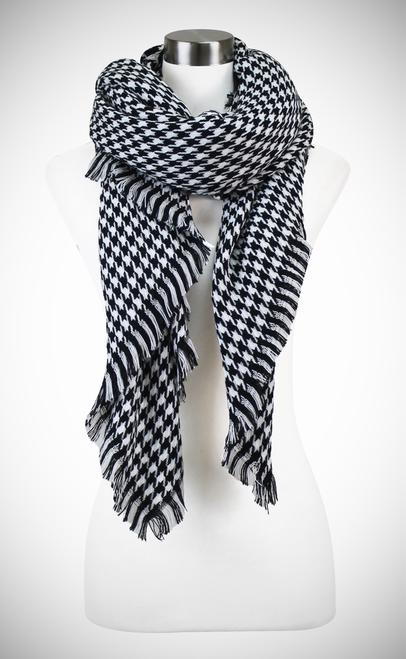 houndstooth blanket scarf - by Lava Accessories - available at rkcollections.myshopify.com -  - Accessory:Scarf