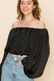 HF21C235-1-HyFve-Satin crop off the shoulder pleated blouse-RK Collections Boutique