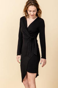 surplice asymmetrical hem dress