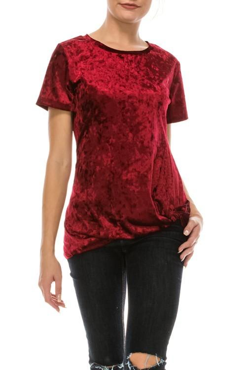 ice velvet knot twist short sleeve top - by Yo Yo 5 - available at rkcollections.myshopify.com -  - Tops