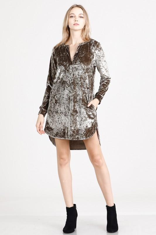 ice velvet tunic dress with pockets (more colors) - by Newbury Kustom - available at rkcollections.myshopify.com -  - Dress
