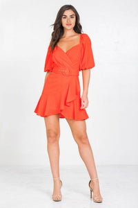 puff sleeve ruffle hem dress