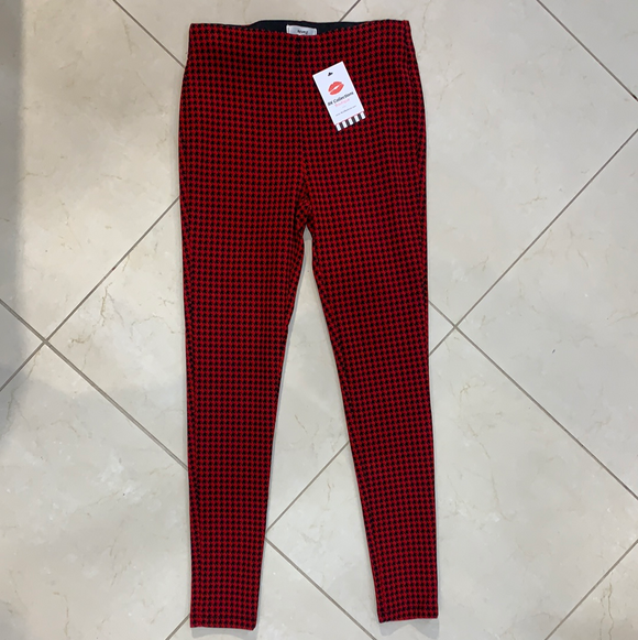 red houndstooth stretch ponte pants
