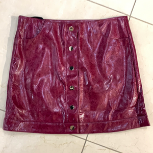 faux leather button down mini skirt