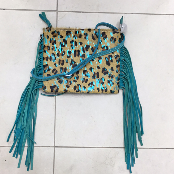 leopard & turq fringe cross body bag