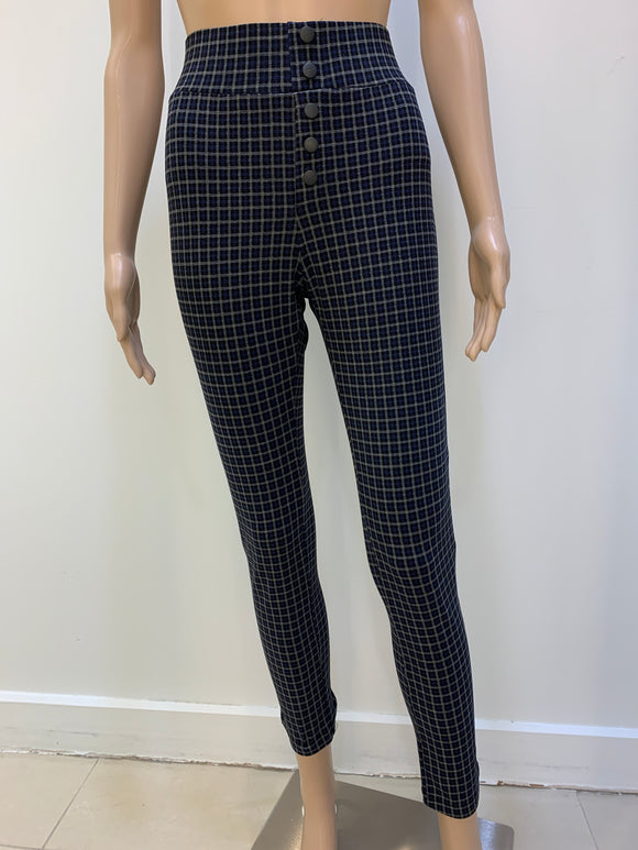 Plaid stretch pull on skinny pant