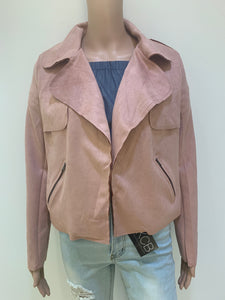 Faux suede open jacket