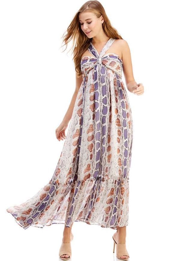 snakeskin sleeveless maxi dress with ruffle hem