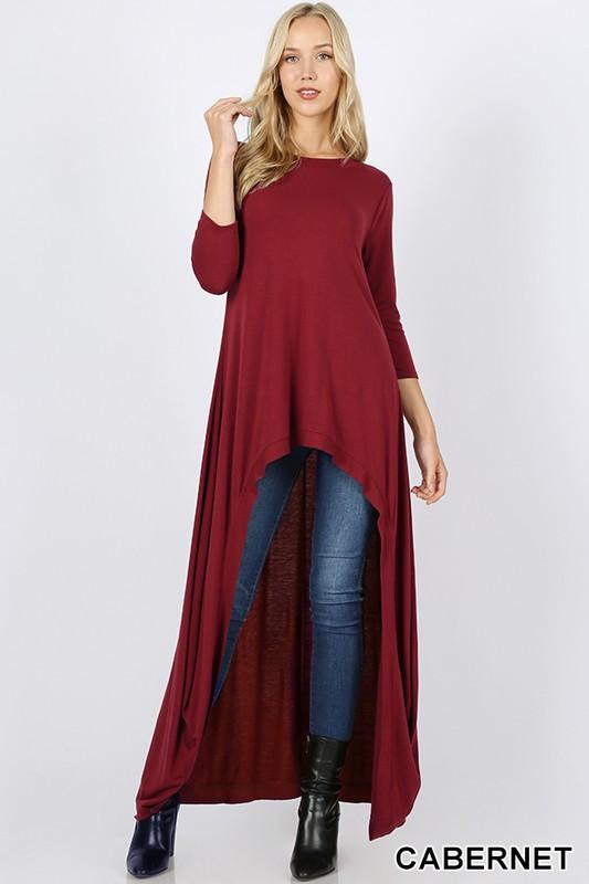 jersey high low maxi top - by Zenana - available at rkcollections.myshopify.com - Cabernet / XL - Tops-Long Sleeve