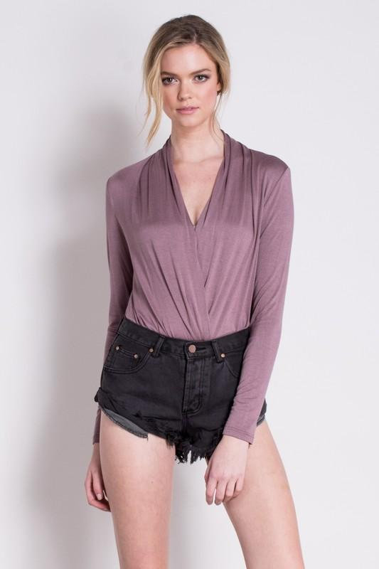 jersey surplice bodysuit (more colors) - by Mustard Seed - available at rkcollections.myshopify.com -  - Tops-Bodysuit