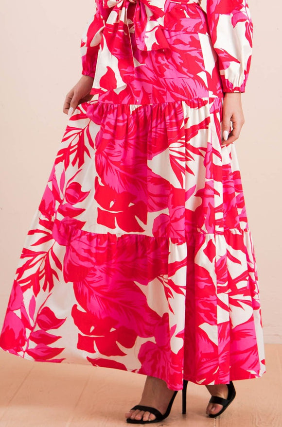 Floral full a line maxi skirt