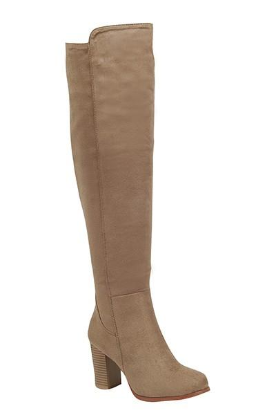 knee high chunky heel suede boot - by Verona Collection - available at rkcollections.myshopify.com - Taupe / 10 - Shoe:TallBoot