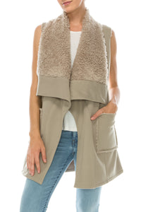 knit fur line vest with pocket - by Favlux - available at rkcollections.myshopify.com -  - Tops-Vest