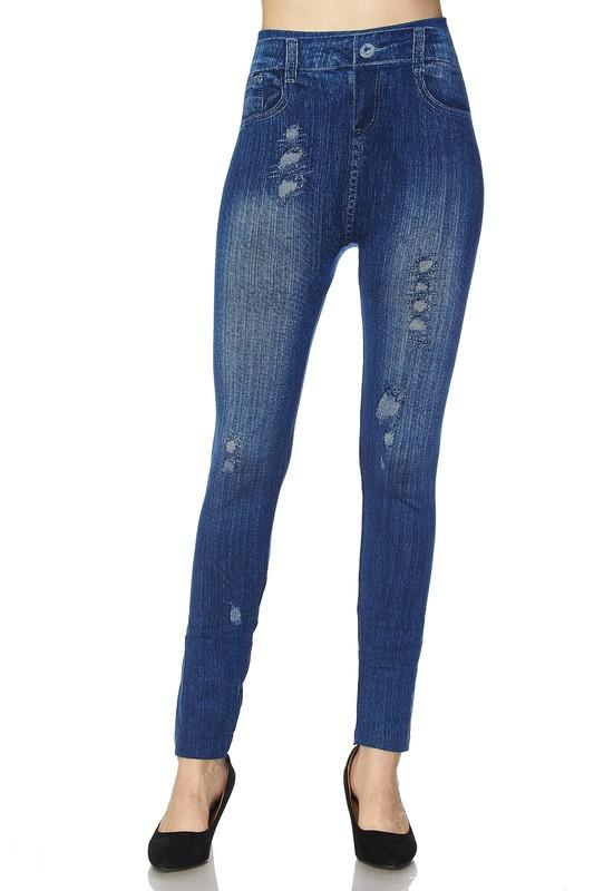 knit washed lightly destroyed denim print ankle leggings - by 2NE1 - available at rkcollections.myshopify.com -  - Leggings