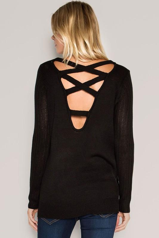 lace up crossover back sweater (more colors) - by Cozy Casual - available at rkcollections.myshopify.com -  - Tops-Sweater