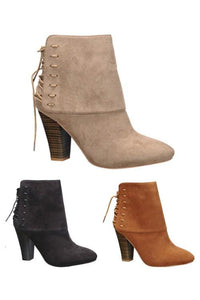 lace up fold over bootie - by Qupid - available at rkcollections.myshopify.com -  - Shoe:Bootie