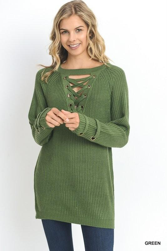 lace-up neck sweater - by Jodifl - available at rkcollections.myshopify.com -  - Tops-Sweater