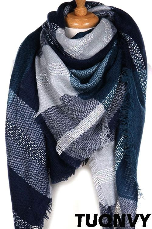 Large Plaid Print Blanket Scarf (Multiple Colors) - by Night Queen - available at rkcollections.myshopify.com - ONE SIZE / Navy - Accessory:Scarf