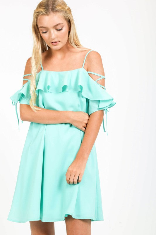 chiffon off the shoulder dress with ruffle