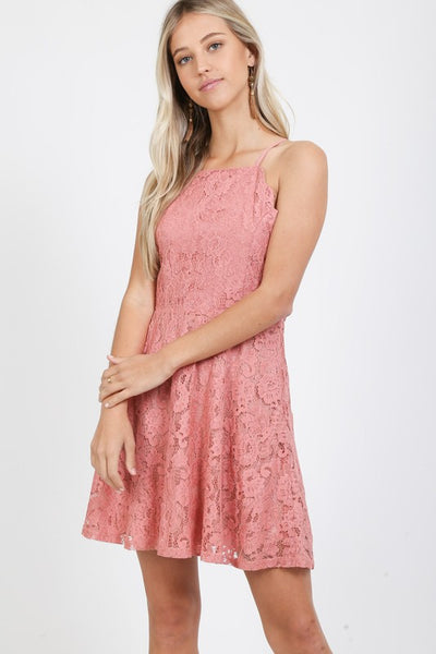 lace fit & flare sleeveless dress by Love Richie