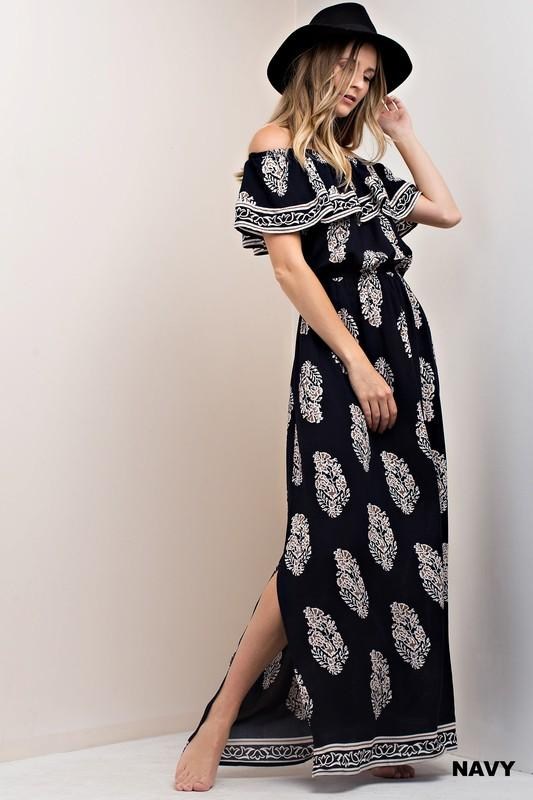 leaf and border off the shoulder maxi dress - by Kori America - available at rkcollections.myshopify.com -  - Dress-Off The Shoulder