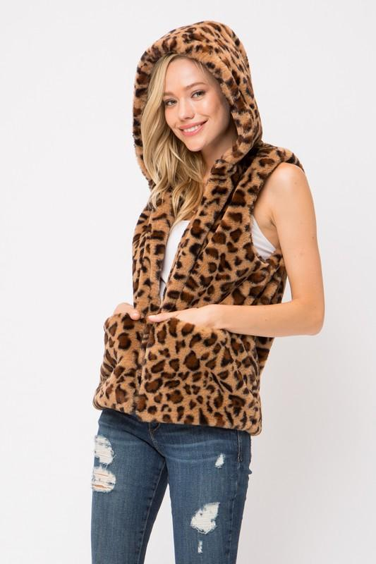 Leopard Fur Hoodie Vest - by Love Tree - available at rkcollections.myshopify.com -  - Tops-Vest