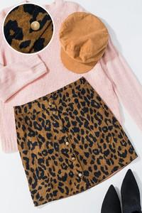 Leopard print corduroy button down mini skirt - by Trend Notes - available at rkcollections.myshopify.com - LARGE - Skirts