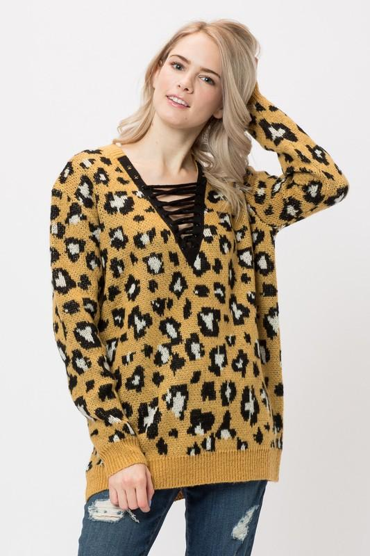 Leopard Print Lace Up  Sweater Top - by Love Tree - available at rkcollections.myshopify.com -  - Tops-Sweater