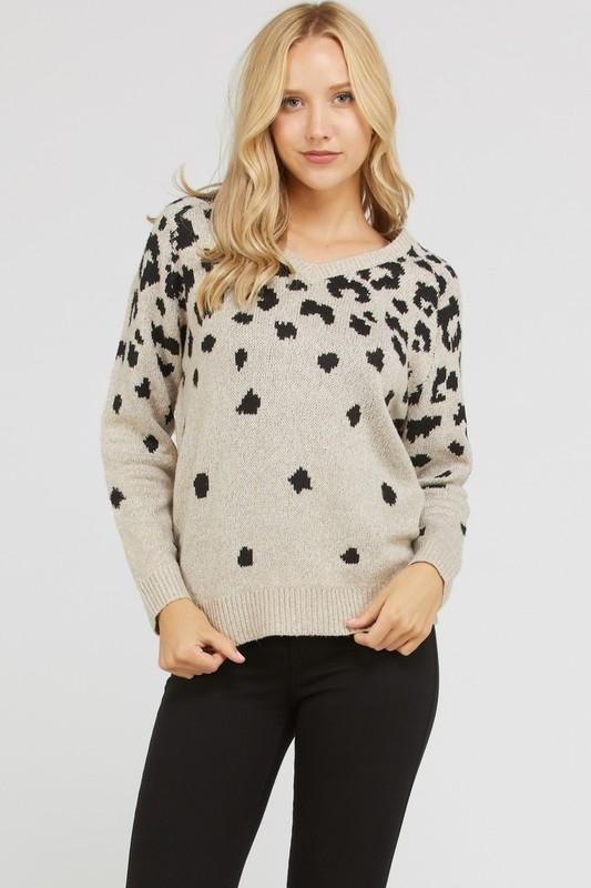 Leopard Print V-Neck Sweater Top - by Love Tree - available at rkcollections.myshopify.com -  - Tops-Sweater