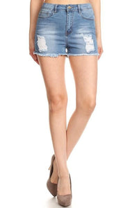 Light Wash High Waisted Cut-Off Shorts - by Denim Couture - available at rkcollections.myshopify.com -  - Shorts