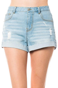 Lightly Distressed Denim Shrts - by Love Tree - available at rkcollections.myshopify.com - Light Blue / LARGE - Shorts