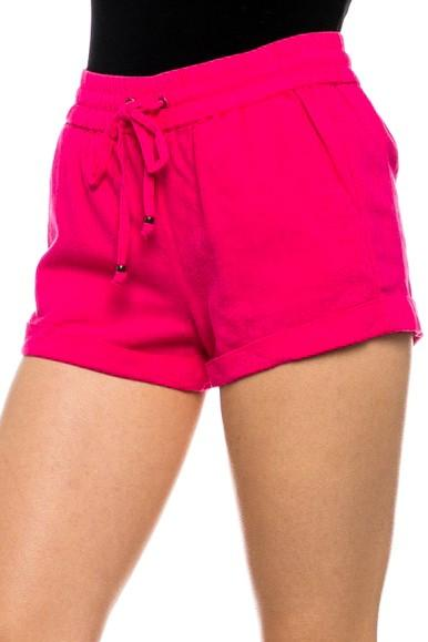 Linen Shorts with Drawstring Waist (8 colors) - by Love Tree - available at rkcollections.myshopify.com - Hot Pink / LARGE - Shorts