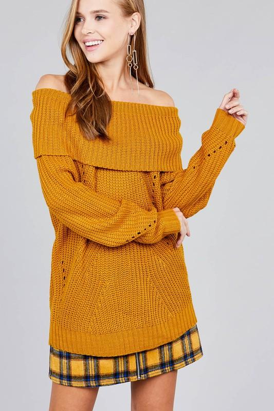 LONG SLEEVE FOLD OVER OFF THE SHOULDER SWEATER - by Active Basic - available at rkcollections.myshopify.com -  - Tops-Off The Shoulder