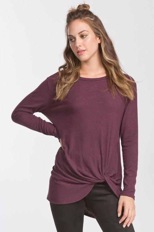 long sleeve round neck twist top - by Cherish USA - available at rkcollections.myshopify.com -  - Tops