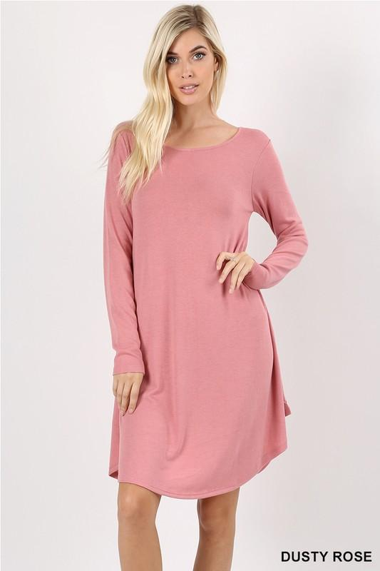 long sleeve sweater dress with side pockets - by Zenana - available at rkcollections.myshopify.com -  - Dress