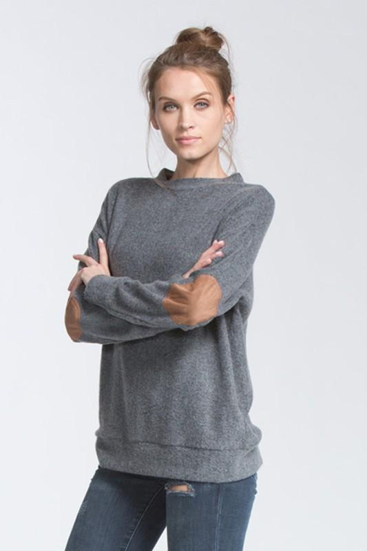 long sleeve top with suede elbow patches - by Cherish USA - available at rkcollections.myshopify.com -  - Tops