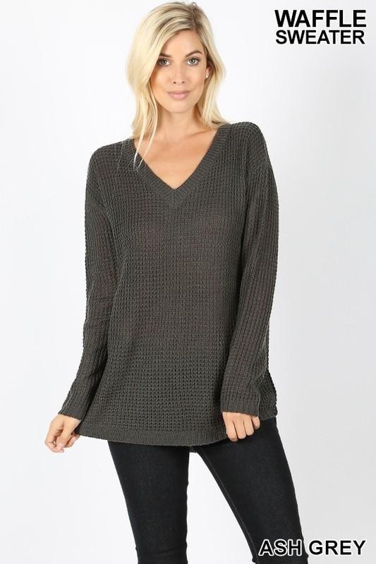 LONG SLEEVE V-NECK HIGH-LOW WAFFLE SWEATER - by Zenana - available at rkcollections.myshopify.com -  - Tops-Long Sleeve