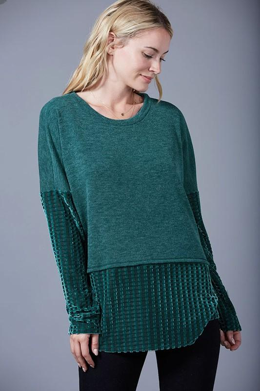 long sleeve velvet contrast top - by Fantastic Fawn - available at rkcollections.myshopify.com -  - Tops