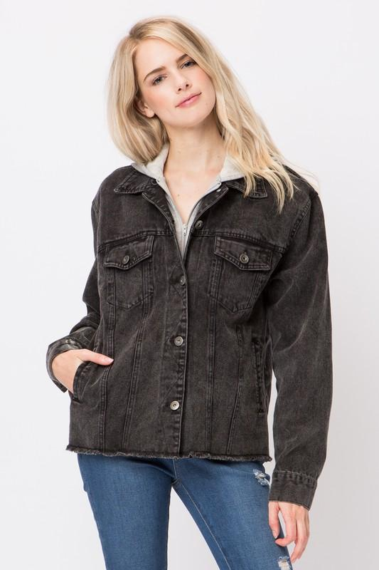 Long Sleeves Denim Jacket Hoodie - by Love Tree - available at rkcollections.myshopify.com -  - Tops-Jacket