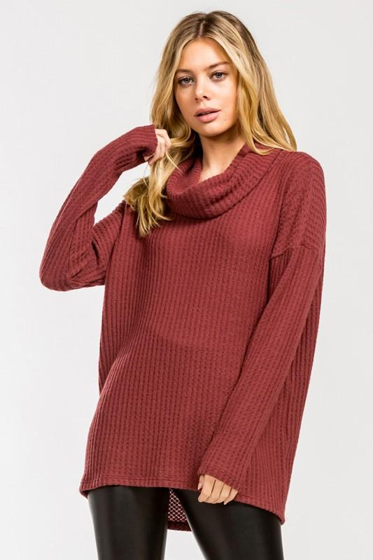 Loose Fit Cowl Neck Long Sleeve Top - by Cherish USA - available at rkcollections.myshopify.com - Burgundy / LARGE - Tops-Long Sleeve