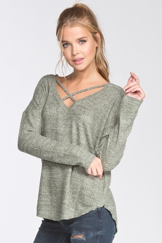 loose fit v-neck drop shoulder top with criss cross detail - by Cherish USA - available at rkcollections.myshopify.com -  - Tops