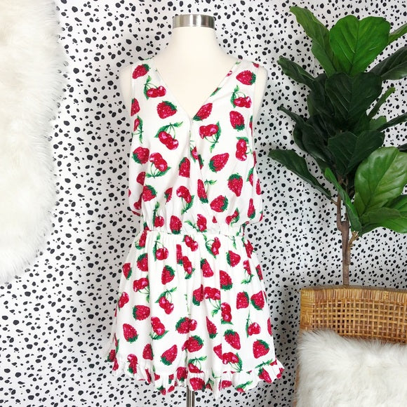 Strawberry sleeveless romper