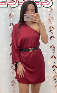 Silky one shoulder long sleeve dress