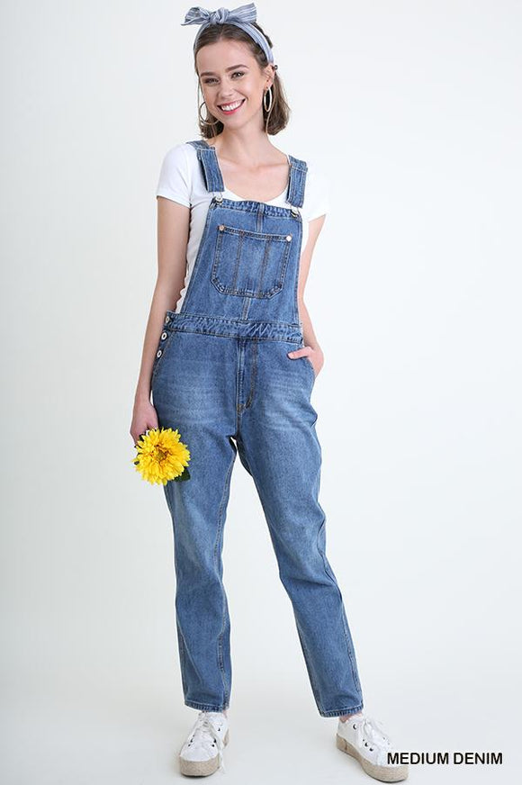 Medium Wash Denim Overalls - by Umgee - available at rkcollections.myshopify.com -  - Jeans